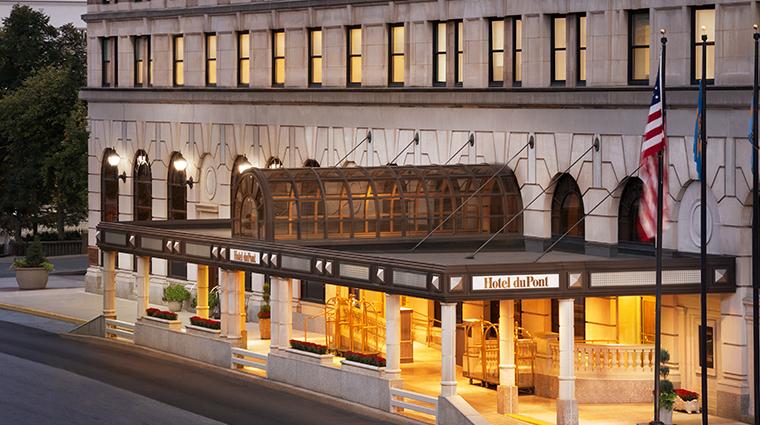 hotel du pont exterior evening