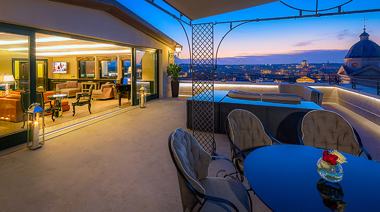 hotel hassler roma penthouse suite terrace night