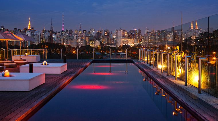 hotel unique skye pool night