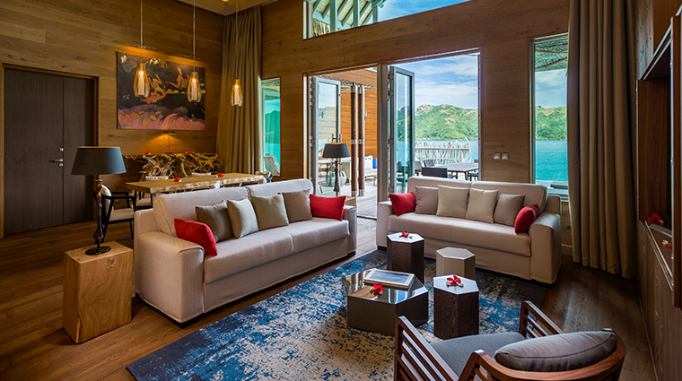 intercontinental bora bora resort thalasso spa Brando Suite living room