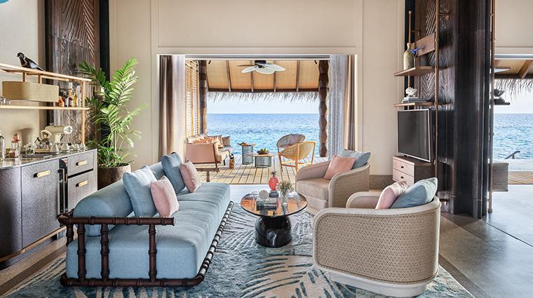 joali maldives sunset luxury villa living room