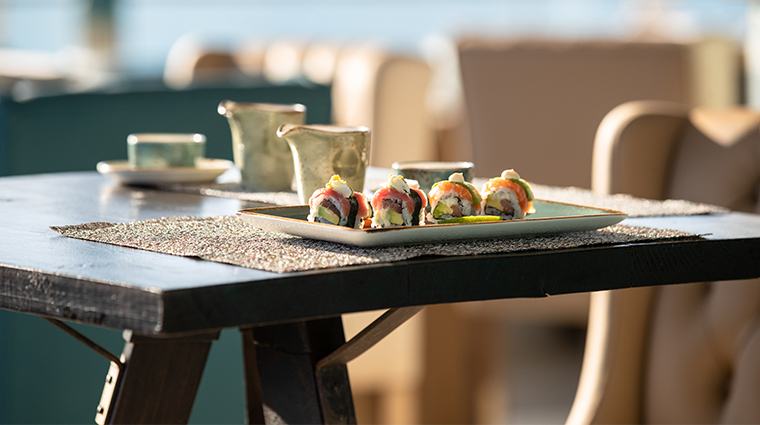 jumeirah port soller hotel spa Sunset Sushi Lounge Sea Sky View Tables Set Up Dinner