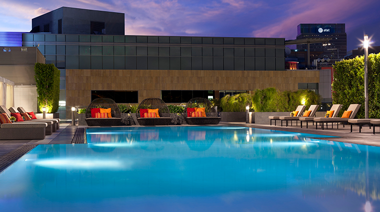 jw marriott los angeles la live rooftop pool night