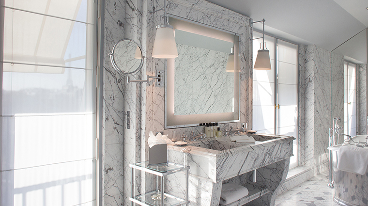 La Reserve Paris marble bathroom