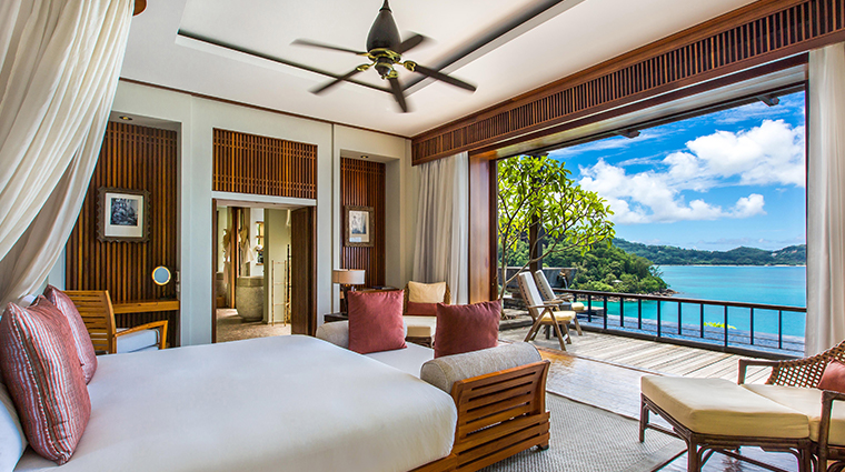 maia luxury resort villa bedroom and pool