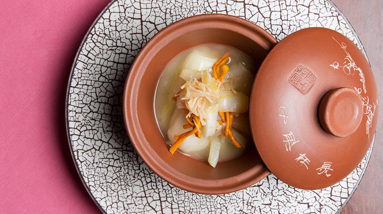 Man Wah Restaurant Poached Seasonal Vegetables Fish Maw Conpoy Cordyceps Flower Supreme Soup