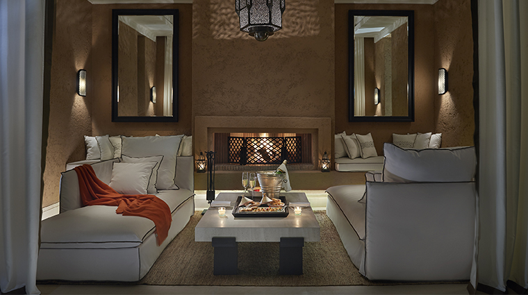 mandarin oriental marrakech pool fireplace