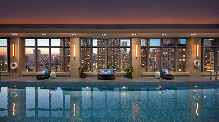mandarin oriental new york pool sunset