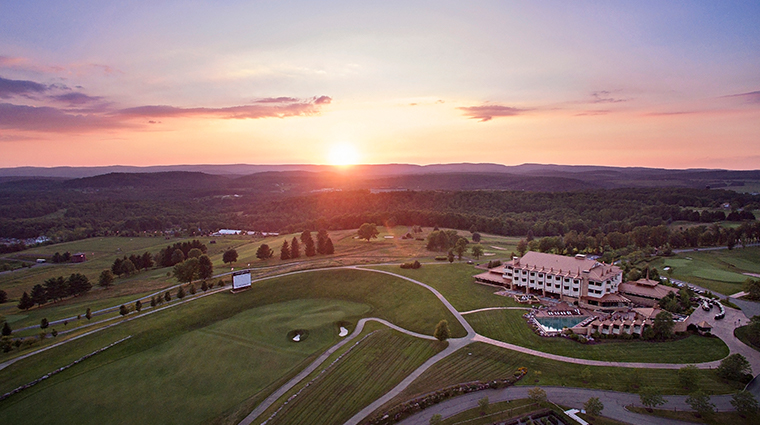 nemacolin woodlands resort falling rock exterior sunset