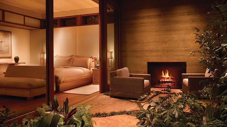 nobu ryokan malibu garden fireplace