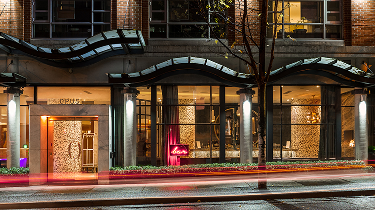 opus hotel vancouver exterior night