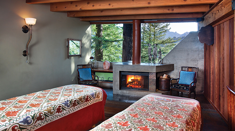 post ranch spa fireplace room