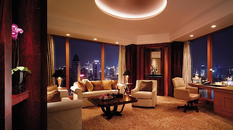 pudong shangri la east shanghai suite living room night view