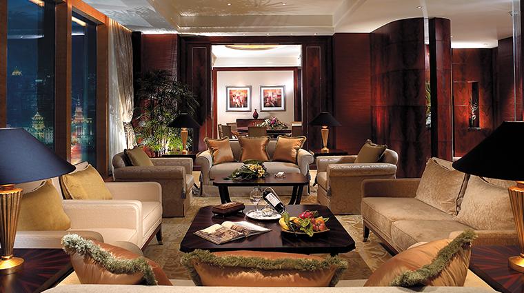 pudong shangri la east shanghai suite living room night