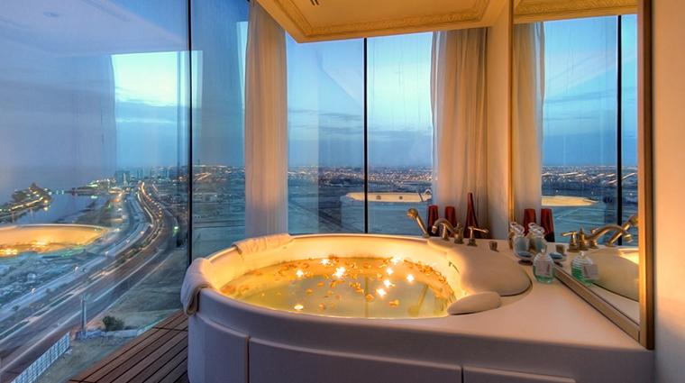 rosewood jeddah bathtub night
