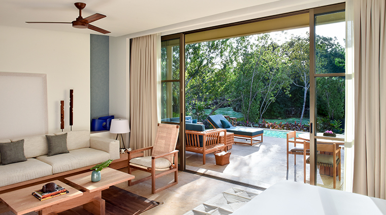 rosewood mayakoba Lagoon Studio Suite King Living Room and Terrace