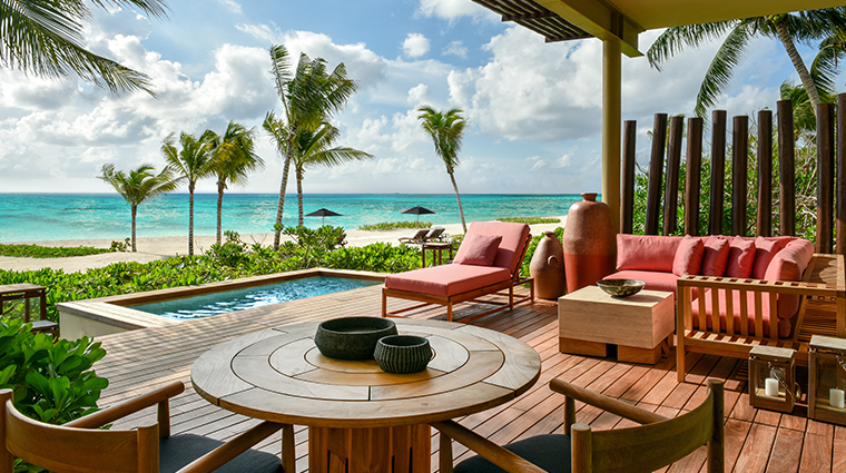 rosewood mayakoba beachfront studio suite terrace and pool