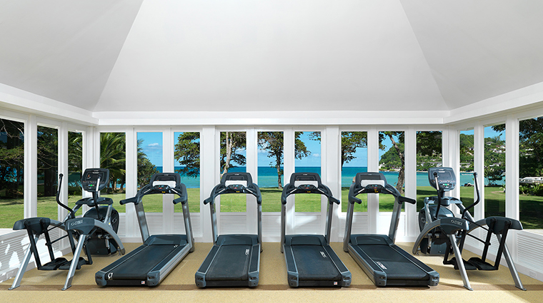 round hill hotel and villas fitness center view
