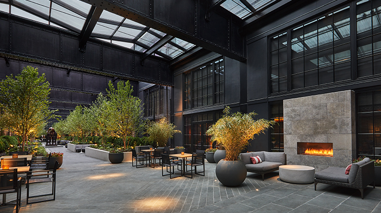 sagamore pendry baltimore courtyard fireplace