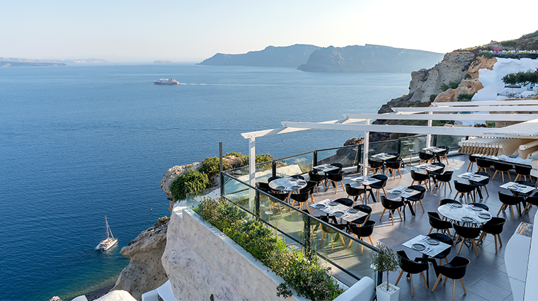 santorini secret suites spa resaturant view