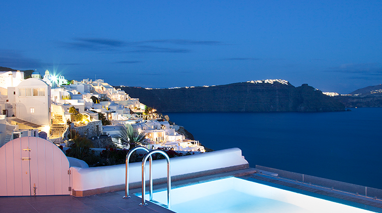 santorini secret suites spa spa night view