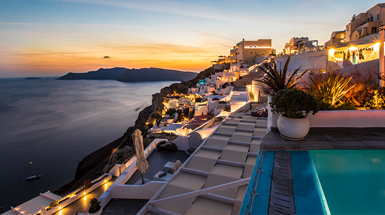 santorini secret suites spa sunset