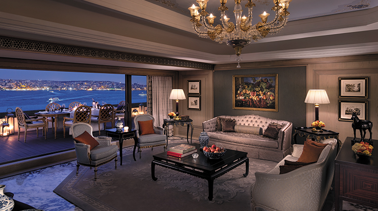 shangri la bosphorus istanbul living room night