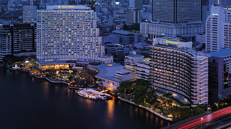 shangri la hotel bangkok night aerial view