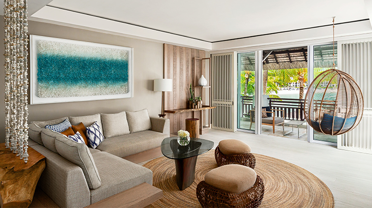 shangri las le touessrok resort and spa Frangipani One Bedroom Suite Living Area