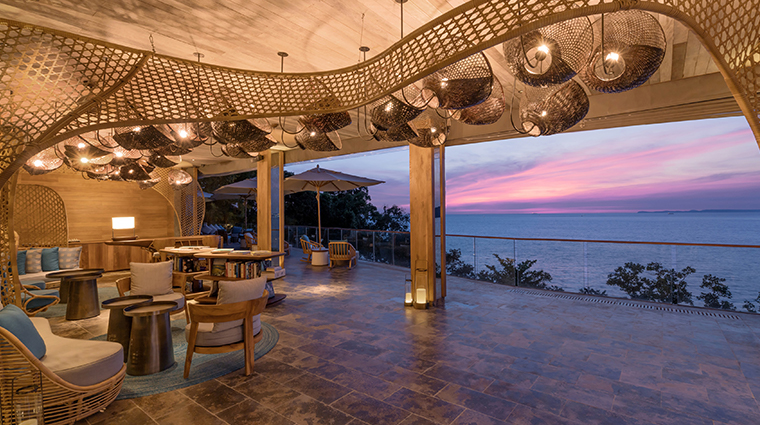 six senses krabey island lobby sunset