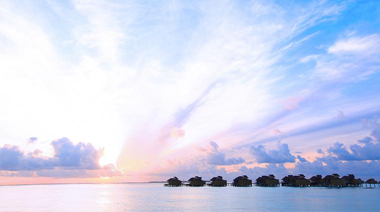 six senses laamu water villa sunset