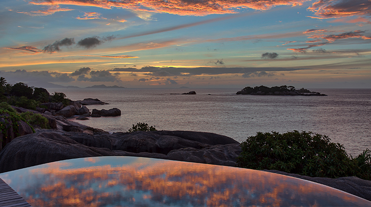 six senses spa zil pasyon pool sunset