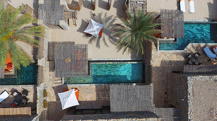 six senses zighy bay pool villa aerial