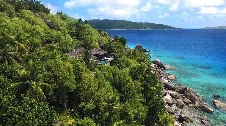 six senses zil pasyon ocean front pool villa aerial
