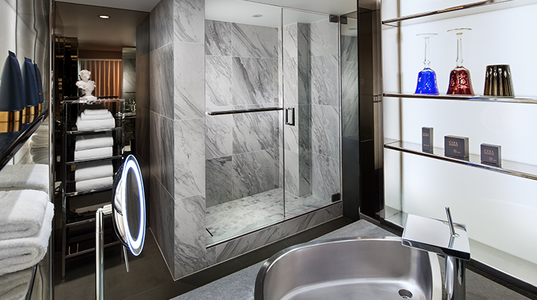 sls hotel at beverly hills a luxury collection hotel shower bathroom