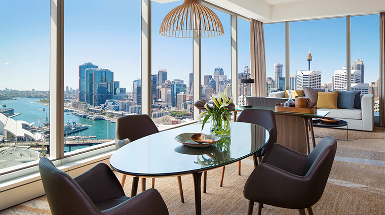 sofitel sydney darling harbour suite dining area