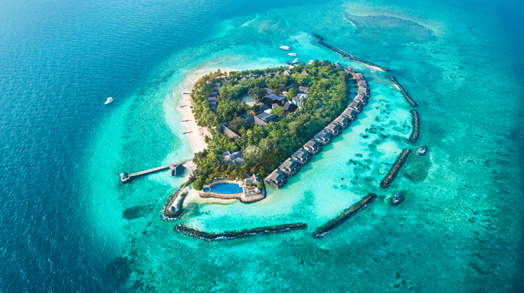 taj coral reef resort spa maldives aerial