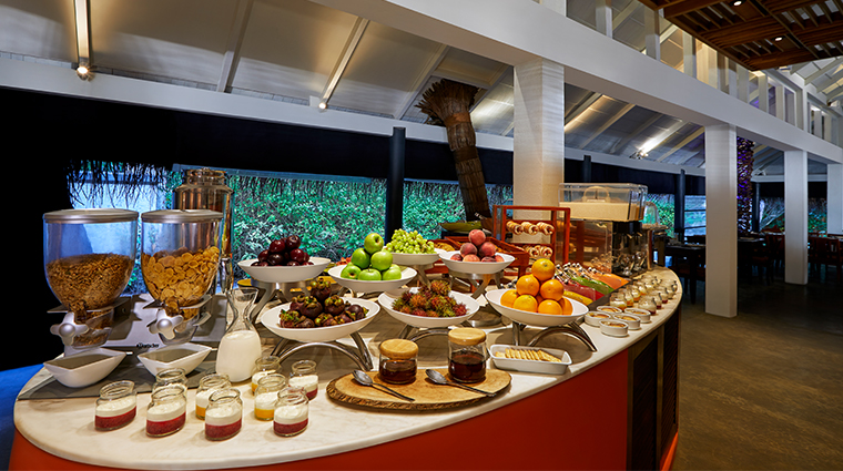 taj coral reef resort spa maldives breakfast cold buffet