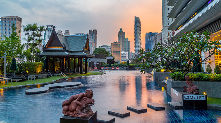 the athenee hotel bangkok pool sunset