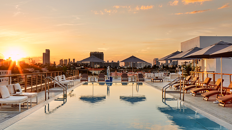 the betsy south beach rooftop pool sunset