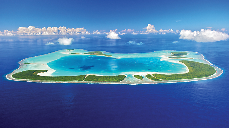 the brando tetiaroa private island aerial island view