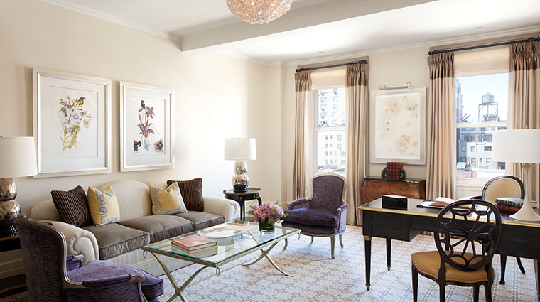 the carlyle a rosewood hotel deluxe one bedroom suite living room