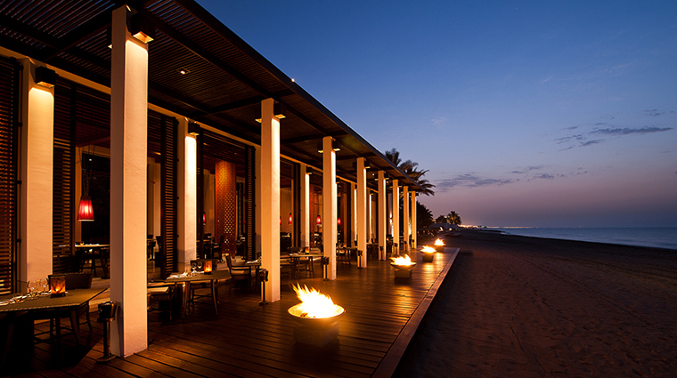 the chedi muscat beach restaurant exterior