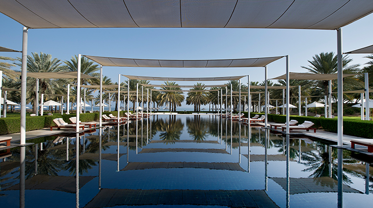 the chedi muscat pool view