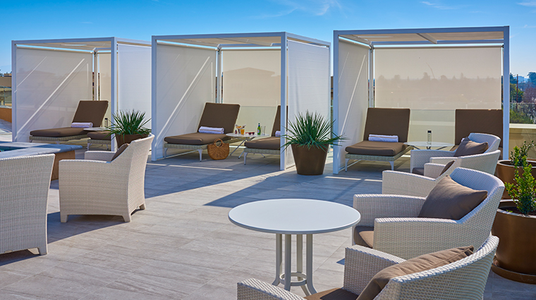 the clement hotel rooftop pool cabanas