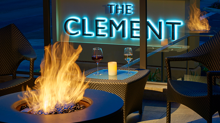 the clement hotel terrace firepit