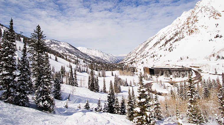 the cliff lodge winter exterior angle