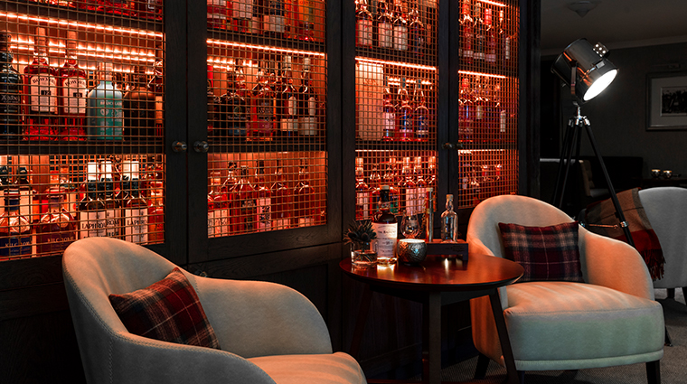 the glasshouse hotel the snug whiskey cabinet