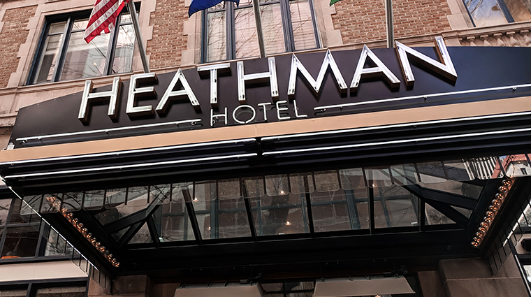 the heathman hotel exterior sign new