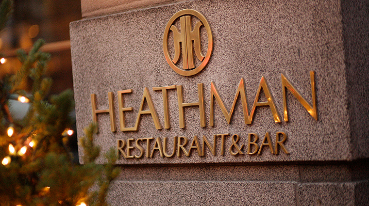 the heathman hotel exterior sign